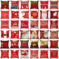 Christmas Red Pillow Case Santa Snowman Sofa Car Throw Cushion Cover Home Decor