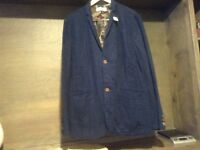 Five Four MENS LINEN BLEND JACKETS SIZE MED / LARGE NWOT BLUE WITH CAMO LINING