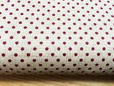 Shabby Chic Burgundy Spots on Cream 100% Cotton Fabric. Price per 1/2 meter