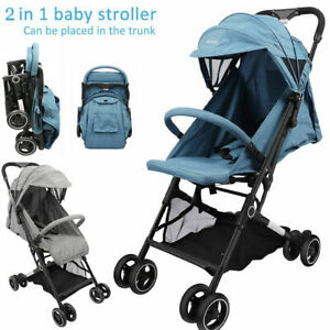 Compact Lightweight Stroller Pushchair with Harness Folding Travel Buggy Pram UK