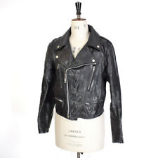 Women's VTG Black REAL LEATHER Studded Cropped Kate Moss Biker Punk Jacket UK 12
