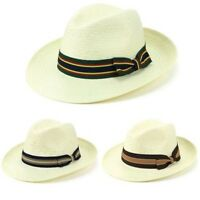 Hat Panama Straw Fedora Trilby Cap Sun Travel Brim Wide Mens Ladies Summer
