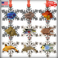 Pewter Tropical Fish Snowflake Christmas Holiday Tree Ornament, Made in the USA