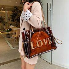 Women Joker Fashion Red Brown Clear Handbag Large-Capacity Workbag Shoulder Bag