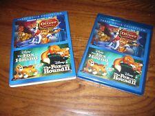 Oliver & Company + Fox Hound I & II; Disney Rewards ] 3 Movie Blu-Ray+DVD] New
