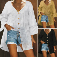 VONDA Women Plus Size Baggy Blouse Tunics Autumn Casual Loose Long Tops Shirt