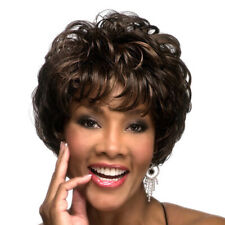 Ombre Synthetic Afro Wigs Black Brown Wavy Curly Style Short for Women With Bang