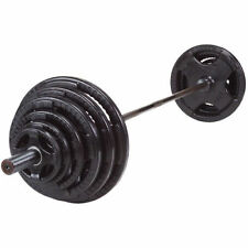 OSR300S BodySolid 300 lb Olympic Rubber Grip Weight Set, Black Bar - pickup only