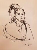 JOSE TRUJILLO Original Charcoal on Paper Sketch Drawing 18X24 PORTRAIT Fine Art