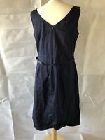 Laura Ashley, Uk 14, Eur 40, Navy Blue Sheath/ahift Dress, Pre-owned