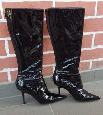 JIMMY CHOO Black Genuine Patent Leather Knee High Boots Size: Eu 37 UK 4 US 6.5