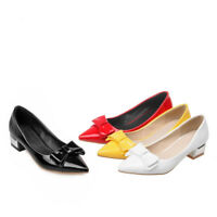 Women's Bowknot Chunky Heels Party Pumps Pointed Toe Casual Faux Leather Shoes