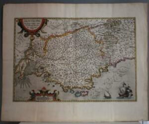 PROVENCE FRANCE 1594 ABRAHAM ORTELIUS UNUSUAL ANTIQUE COPPER ENGRAVED MAP