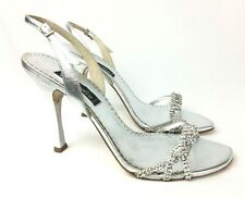 Claudio Milano Leather Sandal Silver Crystal Size 40 Italy #293