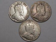 3 Canadian 10 Cent Coins: 1907, 1909 (SL) & 1910. Edward VII.  #57
