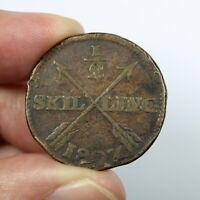 Pièce de Collection Suède Demi skilling Gustave IV Année 1807 Sweden Coin