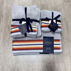 Pendleton Towel Set 2 Bath, 2 Hand & 2 Tip Towels Grey Gray Saltillo Stripe
