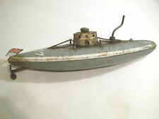 ANTIQUE GERMAN TINPLATE CLOCKWORK WIND UP SUBMARINE U-BOAT BING, MARKLIN
