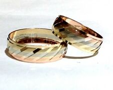 14K TRICOLOR GOLD HIS AND HER WEDDING BAND SET size5-13FREE ENGRAVING & SHIPPNG