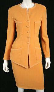 CHANEL Vintage Tangerine Orange Wool Crepe Skirt Suit 36