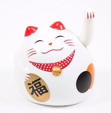 Small White Beckoning Fortune Happy Cat Maneki Neko Toy Home Decor Business Gift