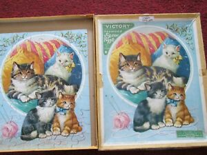 Cats and Kittens Wooden Victory stepping-out Puzzle G. J. Hayter Made In England
