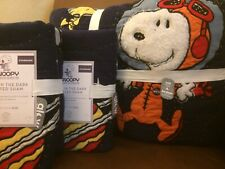 POTTERY BARN KIDS Glow in the Dark SNOOPY Space FULL/QUEEN Quilt & 2 Shams - NEW