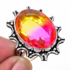 Bi-Color Tourmaline 925 Sterling Silver Jewelry Ring s.9 LR-4460