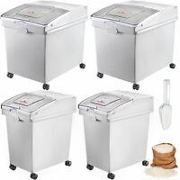 Ingredient Storage Bin Flour Bins On Wheels 10.5 Gallon and 6.6 Gallon 4 Pcs/Set