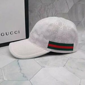 NEW GUCCI HAT Black ,White MEN'S/WOMEN,CANVAS BASEBALL CAP,ADJUSTABLE,SIZE M