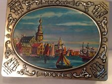 Vintage Verkade Biscuits Tin Can With Pic Of Old Dutch Harbor~Zaandam Holland