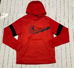 Nike Dri-FIT Youth Boys Fleeced Red Pullover Sweatshirt Hoodie Sweater Large