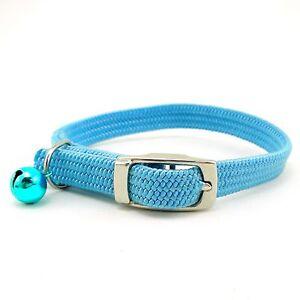 "SCOTT 3/8"" Braided Stretch Elastic Nylon Cat Safety Collar w/ Bell"