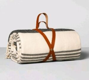 Hearth & Hand with Magnolia Stadium Blanket ~ Black Cream Stripe Leather Strap