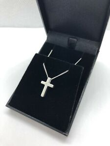 """CHILDS STERLING SILVER DIAMOND CROSS NECKLACE 14"""" CHAIN CHRISTENING GIFT"""