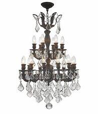 "18-Light Flemish Brass D21""H32"" Traditional CLear Crystal Chandelier Light"