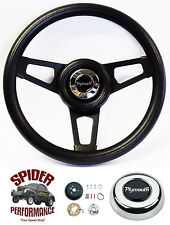"1973-1978 Satellite Duster Fury steering wheel PLYMOUTH 13 3/4"" BLACK SPOKE"