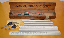 VINTAGE DRAFTING TOOLS SET LEROY LETTERING GUIDE WITH WOODEN BOX TEMPLATES 1950