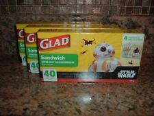 120 New Glad Disney Star Wars Plastic Zipper Sandwich Bags Four Unique Designs