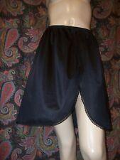 """Vintage Vanity Fair Black Silky Nylon Slit Half Slip Lingerie M 18"""""""