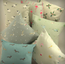 "Sophie Allport Fabric.REVERSIBLE 12"" 30cm Cushion Cover Sheep Duck Bee Flamingo"
