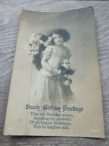 1916 Young flower Girl in pretty Dress with lace With Poem Postcard used