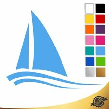 Aufkleber Sticker Autoaufkleber Auto Boot mit Wasser Meer Segelboot 10 x 8 cm