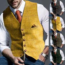 Mens Vest Tweed Waistcoat Notch Lapel Wool Blend Herringbone Vintage Suit Formal