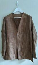 ERIC RAISINA Bronze-Brown Mandarin-Collared Shirt - 100% Silk - Mens Size L