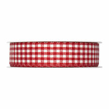 Red Gingham ribbon check fabric 25mm (1 inch) Full 25m roll Made in Germany