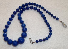 Lovely Cobalt Blue Glass Beaded Necklace with Gold Flecks - Made in England