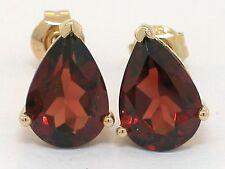 Granat Ohrstecker 585 Gelbgold 14Kt Gold 2 natürliche Granate