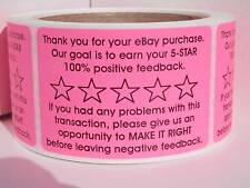 Thank You for your eBay Purchase/FB 2x3 sticker label pink fluorescent 250/rl