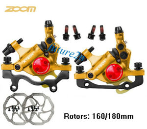 Gold MTB Bike Brakes Hydraulic Disc Brake Calipers Front Rear 160/180mm rotors